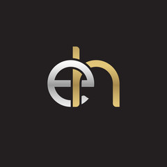Initial lowercase letter eh, linked overlapping circle chain shape logo, silver gold colors on black background