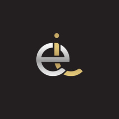 Initial lowercase letter ei, linked overlapping circle chain shape logo, silver gold colors on black background
