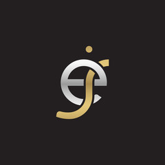 Initial lowercase letter ej, linked overlapping circle chain shape logo, silver gold colors on black background