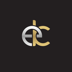 Initial lowercase letter ek, linked overlapping circle chain shape logo, silver gold colors on black background