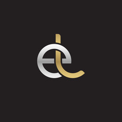 Initial lowercase letter el, linked overlapping circle chain shape logo, silver gold colors on black background