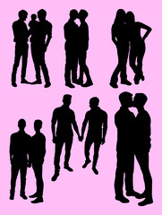 Homosexual couple silhouette.
