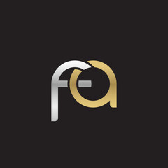 Initial lowercase letter fa, linked overlapping circle chain shape logo, silver gold colors on black background