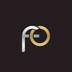 Initial lowercase letter fo, linked overlapping circle chain shape logo, silver gold colors on black background
