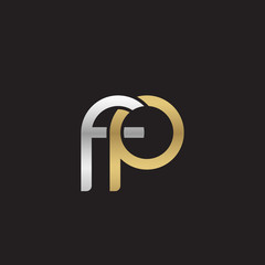 Initial lowercase letter fp, linked overlapping circle chain shape logo, silver gold colors on black background