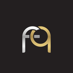 Initial lowercase letter fq, linked overlapping circle chain shape logo, silver gold colors on black background