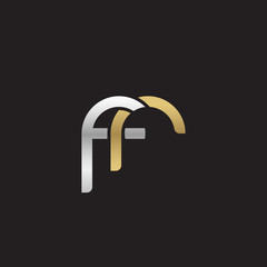 Initial lowercase letter fr, linked overlapping circle chain shape logo, silver gold colors on black background