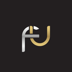 Initial lowercase letter fu, linked overlapping circle chain shape logo, silver gold colors on black background