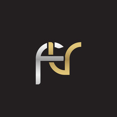 Initial lowercase letter fv, linked overlapping circle chain shape logo, silver gold colors on black background