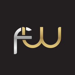 Initial lowercase letter fw, linked overlapping circle chain shape logo, silver gold colors on black background