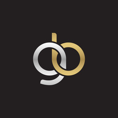 Initial lowercase letter gb, linked overlapping circle chain shape logo, silver gold colors on black background