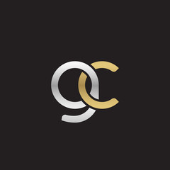 Initial lowercase letter gc, linked overlapping circle chain shape logo, silver gold colors on black background