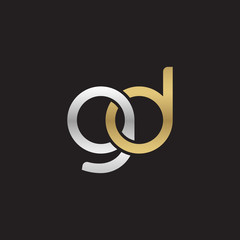 Initial lowercase letter gd, linked overlapping circle chain shape logo, silver gold colors on black background