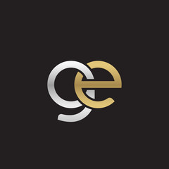 Initial lowercase letter ge, linked overlapping circle chain shape logo, silver gold colors on black background