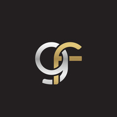 Initial lowercase letter gf, linked overlapping circle chain shape logo, silver gold colors on black background