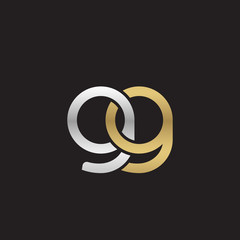 Initial lowercase letter gg, linked overlapping circle chain shape logo, silver gold colors on black background