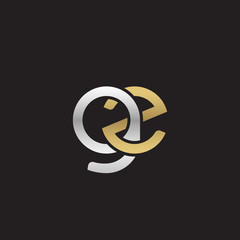 Initial lowercase letter gz, linked overlapping circle chain shape logo, silver gold colors on black background