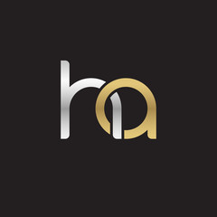 Initial lowercase letter ha, linked overlapping circle chain shape logo, silver gold colors on black background