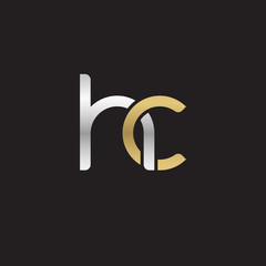 Initial lowercase letter hc, linked overlapping circle chain shape logo, silver gold colors on black background