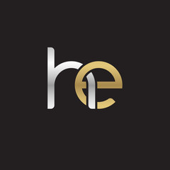 Initial lowercase letter he, linked overlapping circle chain shape logo, silver gold colors on black background