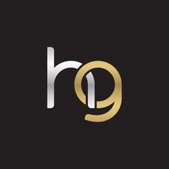 Initial lowercase letter hg, linked overlapping circle chain shape logo, silver gold colors on black background
