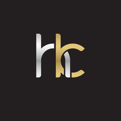 Initial lowercase letter hk, linked overlapping circle chain shape logo, silver gold colors on black background