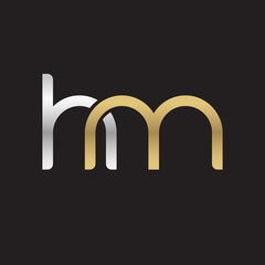 Initial lowercase letter hm, linked overlapping circle chain shape logo, silver gold colors on black background