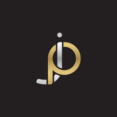 Initial lowercase letter jp, linked overlapping circle chain shape logo, silver gold colors on black background