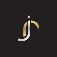 Initial lowercase letter jr, linked overlapping circle chain shape logo, silver gold colors on black background