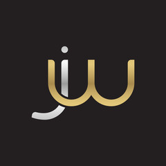 Initial lowercase letter jw, linked overlapping circle chain shape logo, silver gold colors on black background