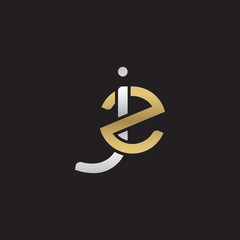 Initial lowercase letter jz, linked overlapping circle chain shape logo, silver gold colors on black background