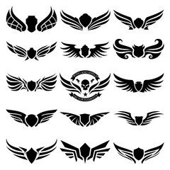 Wings logo elements, Wing icon design collection, vector illustrations.