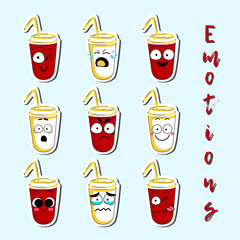 Cartoon beverage cup cute character face isolated vector illustration. Funny face icon collection. Cartoon face food emoji. Cartoon beverage emoticon. Funny food sticker.