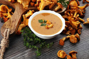 Mushroom cream soup with fresh chanterelles and herbs on a rustic background. Autumn concept.