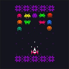 Video game 8 bit space aliens & spaceship pixel art with embroidery flowers elements. Cool vector vintage retro design or textil print. Each character is different from the patent characters