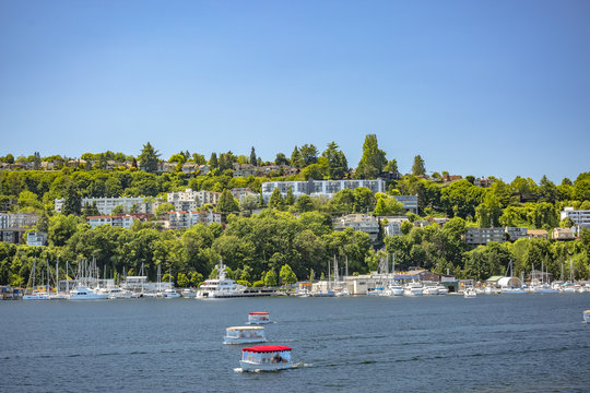 View of Seattle suburbs on the water with boats