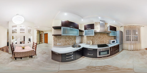 Panorama in interior stylish kitchen in modern flat in pastel color. Full 360 degree seamless panorama in equirectangular equidistant spherical projection