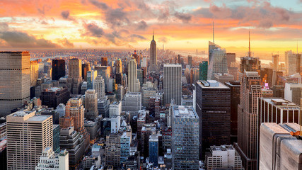 New York city at sunset, USA