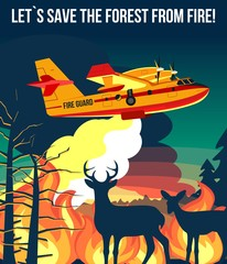 Forest wildfire with fire amphibian aircraft & deer with fawn looking on wildfire vector illustration poster or banner