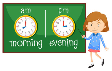 Opposite wordcard for morning and evening