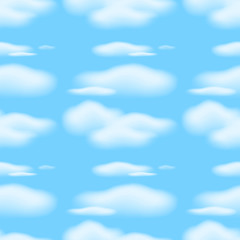 Seamless background with clouds in blue sky