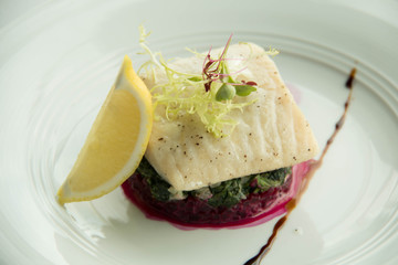 steack fish ,Fillet of snow fish with vegetable