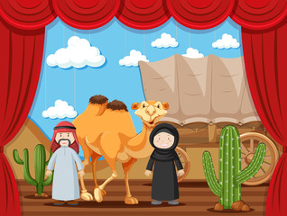 Stage play with two people playing arabs in desert