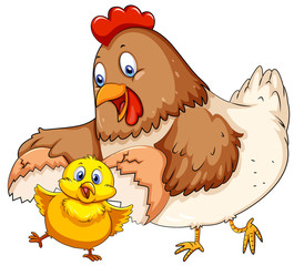 Mother hen and little chick