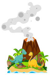 Two dinosaurs at the base of volcano