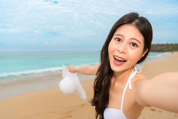 happy woman travel in tropical countries