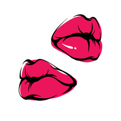Vector Lips Kiss Icon Illustration