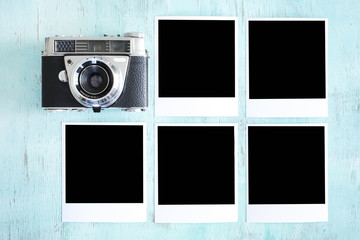 Camera and black photo cards