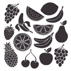 Silhouettes of banana, cherry, strawberry, pineapple, lemon, watermelon and other farm and tropical fruits and berries. Vector illustration set. Healthy vegetarian food. Isolated on white background