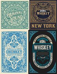 4 Old cards set with floral details.